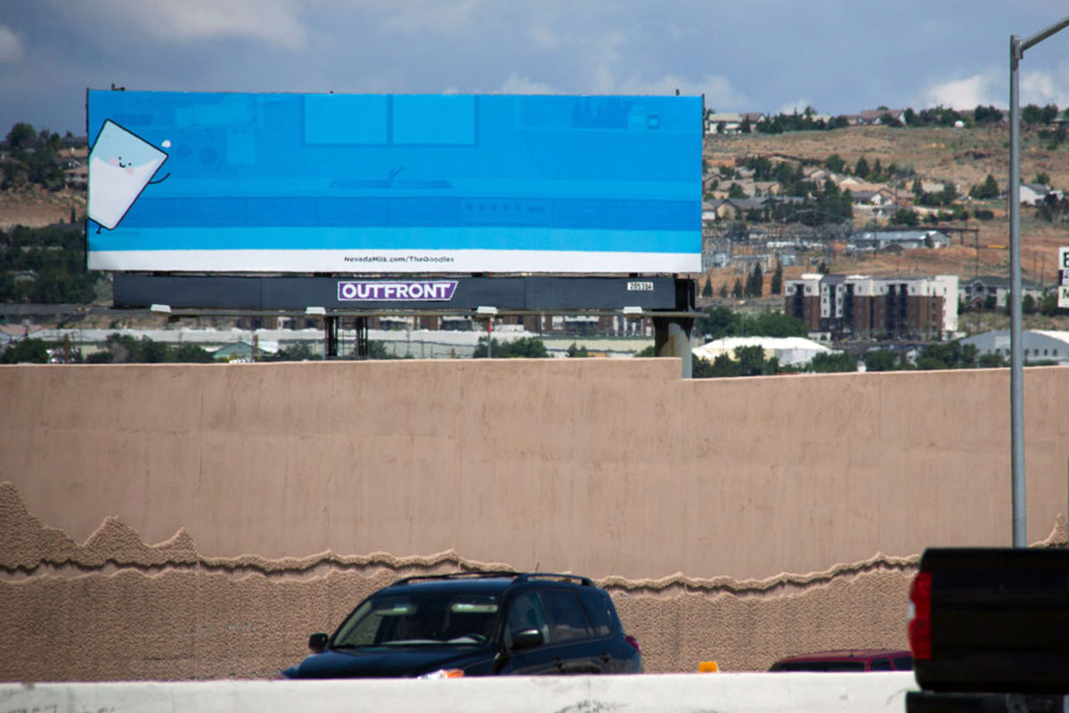 Meet the Doodles billboard, located on 395 North in Reno, Nevada by the Nevada Dairymen. Installation 1: Meet Phil!