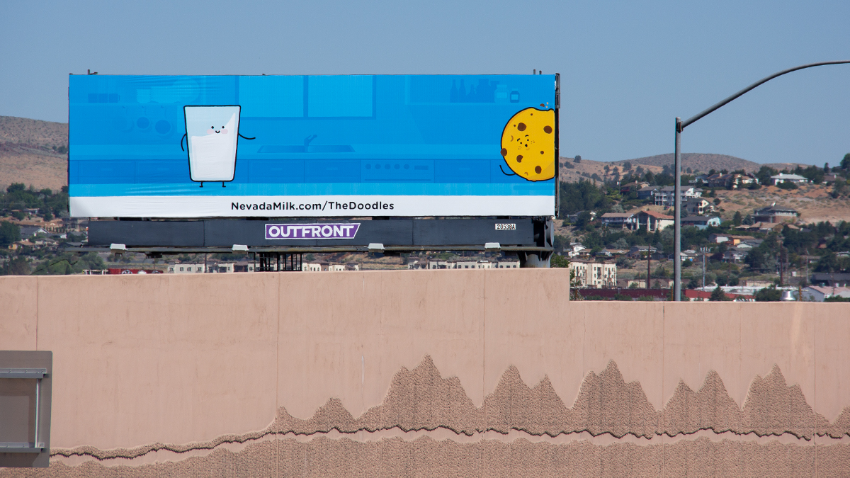 Meet the Doodles billboard, located on 395 North in Reno, Nevada by the Nevada Dairymen. Installation 3: Phil meets Cookie