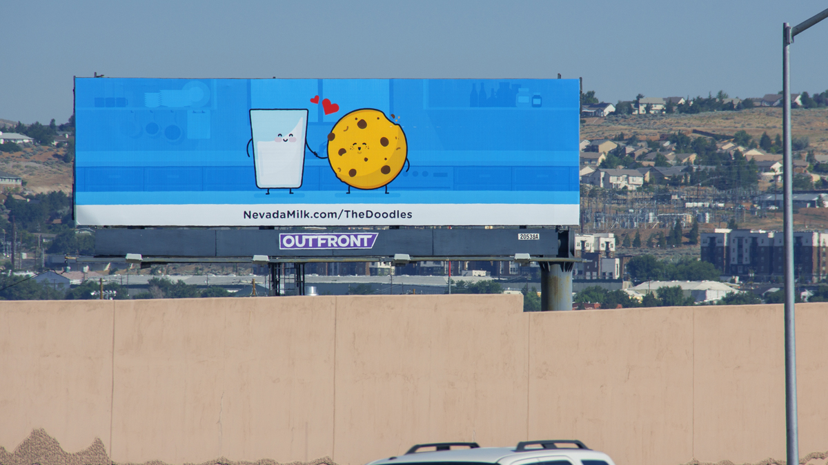 Meet the Doodles billboard installation 1, located on 395 North in Reno, Nevada by the Nevada Dairymen. Installation 5: Phil & Cookie Meet
